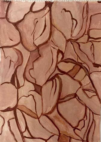 """""""Durstige Erde"""", 2016, Acryl auf Papier, 69x50"""