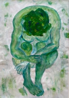 """""""Gebeugt-grün""""- Serie, 2016, Mischtechnik auf Papier, 29×20"""