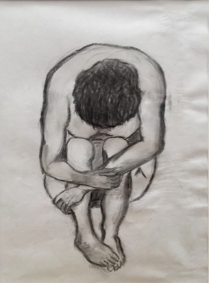 """""""Gebeugt-schwarz"""" – Serie, 2016, Mischtechnik auf Papier, 42×29,5"""