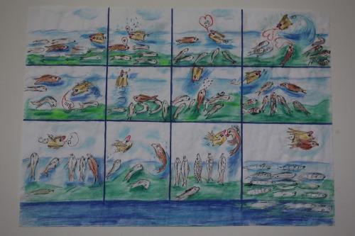 """""""Meeresfisch unter Flussfischen"""", 2016, Mischtechnik auf Papier, 29,5x41"""