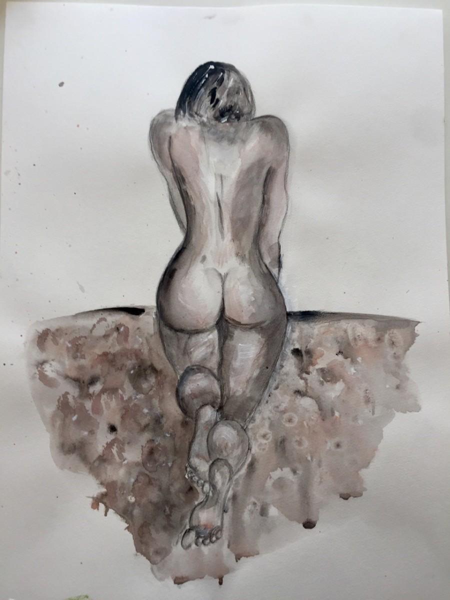 o.T., 2016, Acryl auf Papier, 48 x 35,5 cm