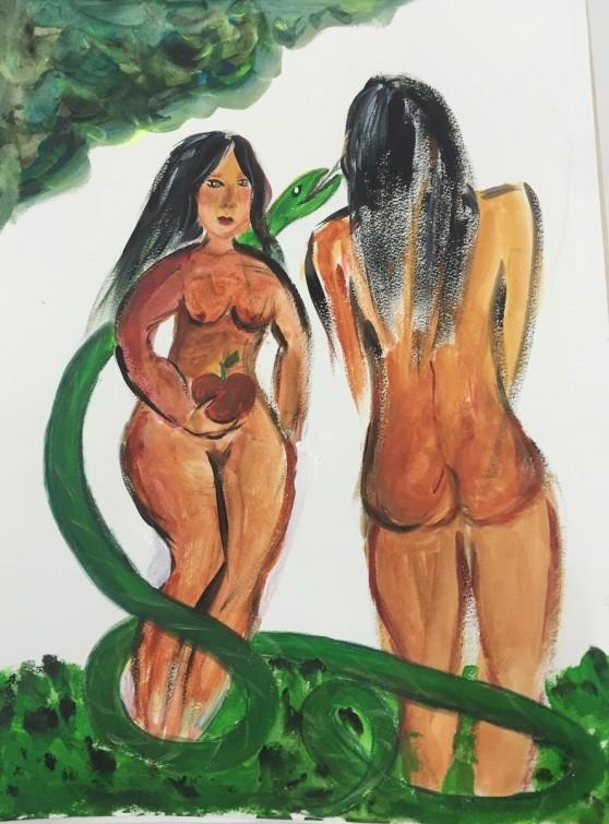 Adam und Eva #1, Acryl auf Papier, 2016, 50 x 40 cm