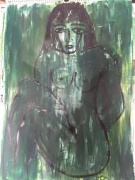 Grüne Frau im Dunklen, Acryl auf Papier, 2016, 69 x 50 cm
