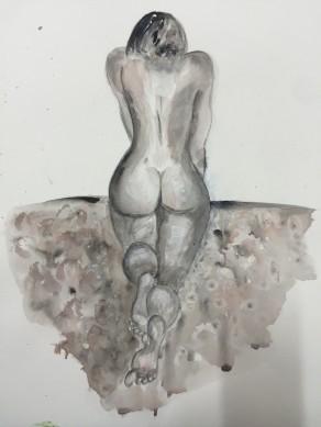 Nackt und feucht, Acryl auf Papier, 2016, 36x49 cm