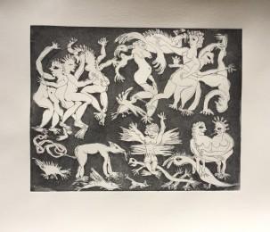 Höllentanz, Radierung, 2018, 22,5 x 17 cm